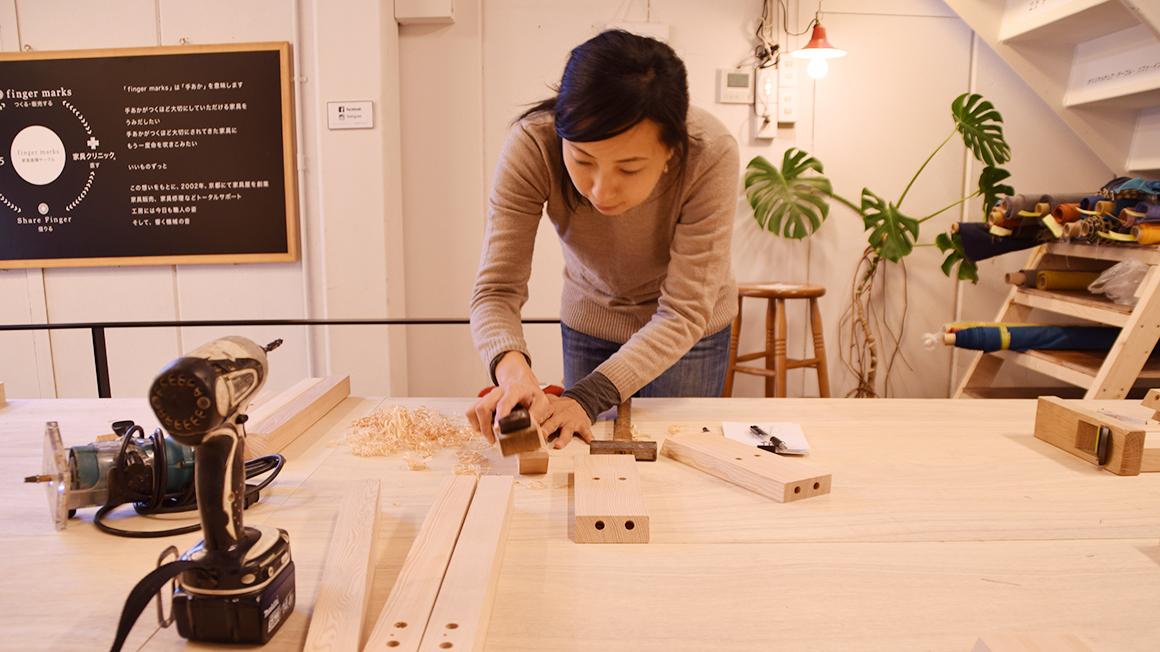 女性でも簡単な木のスツール作り