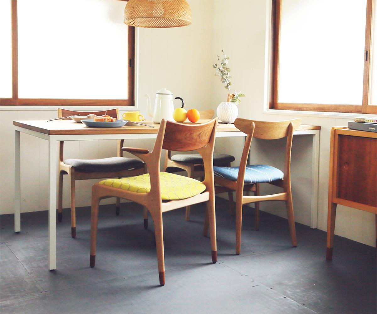 北欧デザインダイニングテーブルと椅子のコーディネート