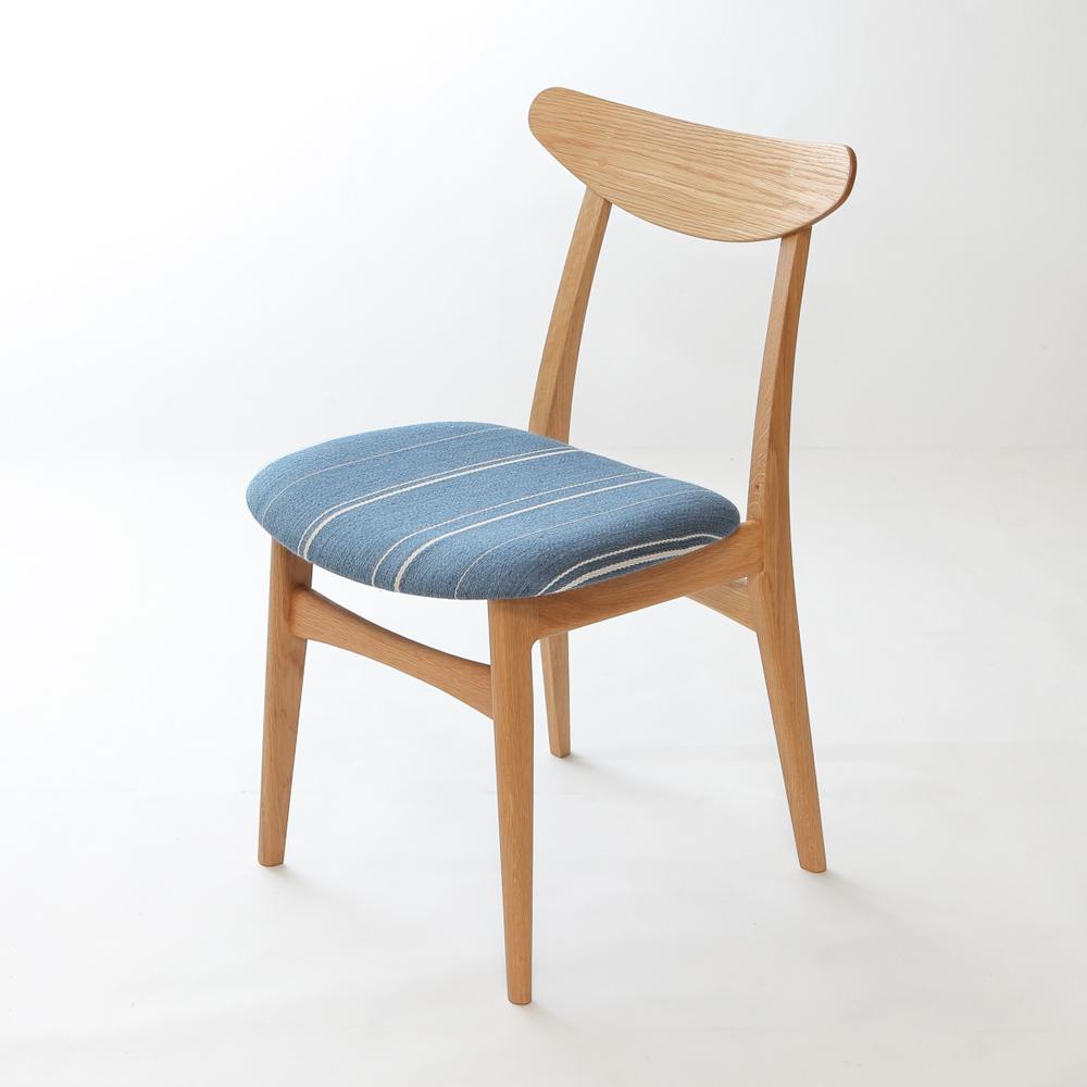北欧デザインダイニング椅子ホワイトオークデンマーク生地