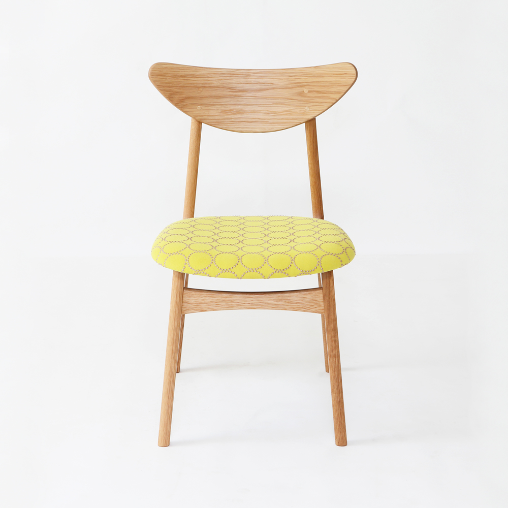 おしゃれな京都の家具職人が作る無垢の北欧デザイン椅子ミナペルホネンファブリック使用