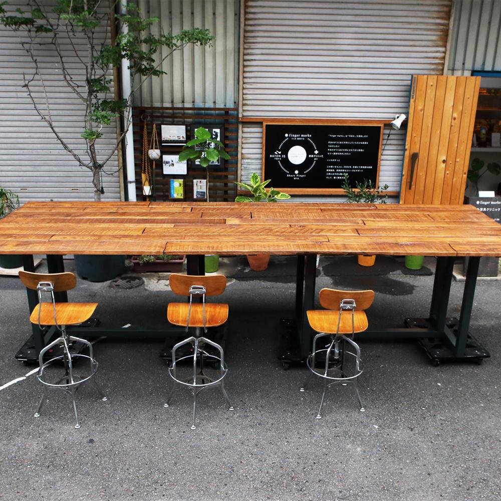 オーダーメイド家具製作事例_アイアン脚ビンテージ風特大テーブルを製作しました